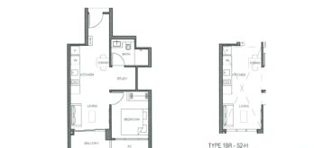 parc-clematis-floor-plan-1-bedroom-study-type-1-bedroom-study-s2-singapore